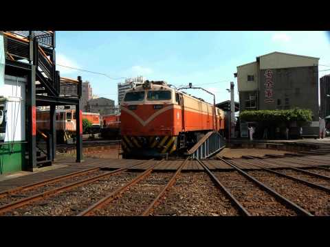 [HD] The Taiwan TRA GM EMD G12 R50 R70 haul the 2 nos. GE E300 at the Changhua Rolling Stock Branch