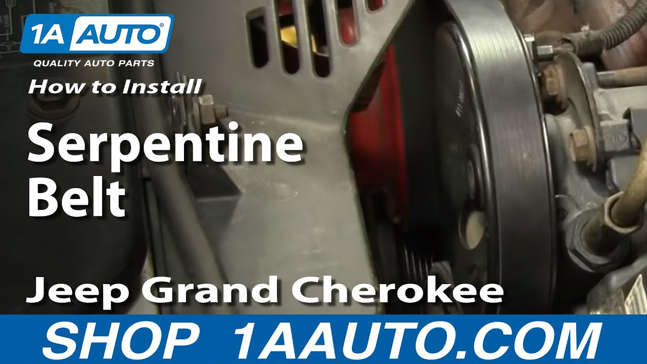 small resolution of how to install replace serpentine belt jeep grand cherokee 97 98 4 0l youtube