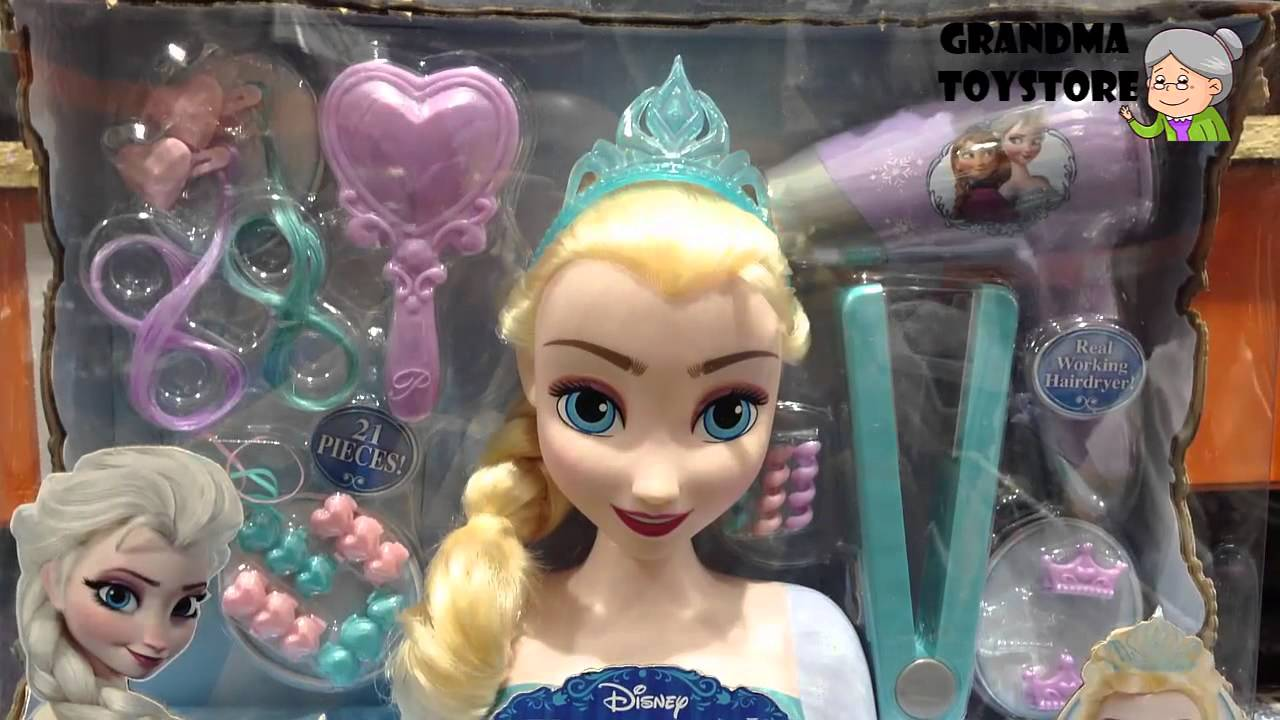 hair styling toys unboxing toys review demos frozen snow elsa hair 7420