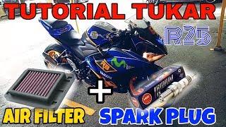 #251 TUKAR SPARK PLUG & AIR FILTER YAMAHA R25|| LSWVLOG
