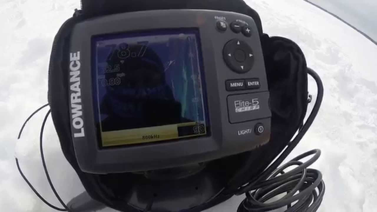 Ice Fishing with Down Imaging Lowrance Elite5 CHIRP