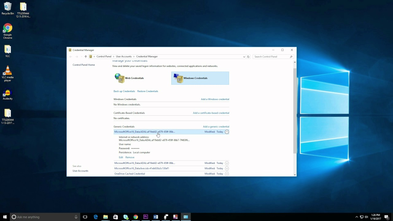 Remove or update old passwords using Credential Manager in Windows