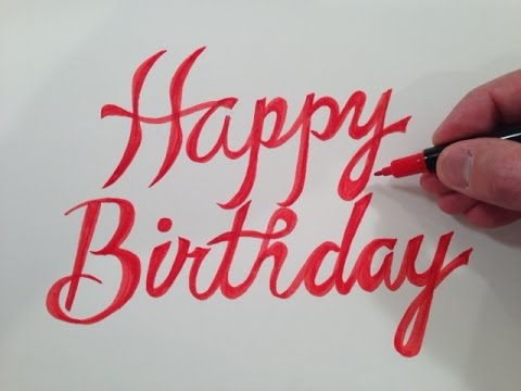How To Draw Happy Birthday In Fancy Cursive Part 1 Of 3 Youtube