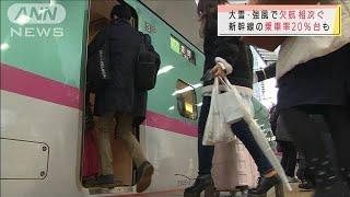 大雨強風で空の便欠航も 新幹線はコロナでガラガラ(2020年12月30日) - YouTube
