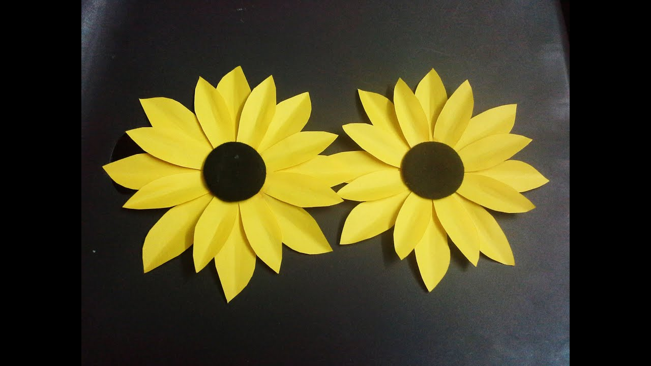 how to make a paper flower tutorial  sunflower  paper crafts   YouTube how to make a paper flower tutorial  sunflower  paper crafts
