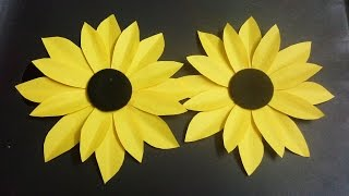 Gambar How To Make A Paper Flower Tutorial  Sunflower  Paper Crafts