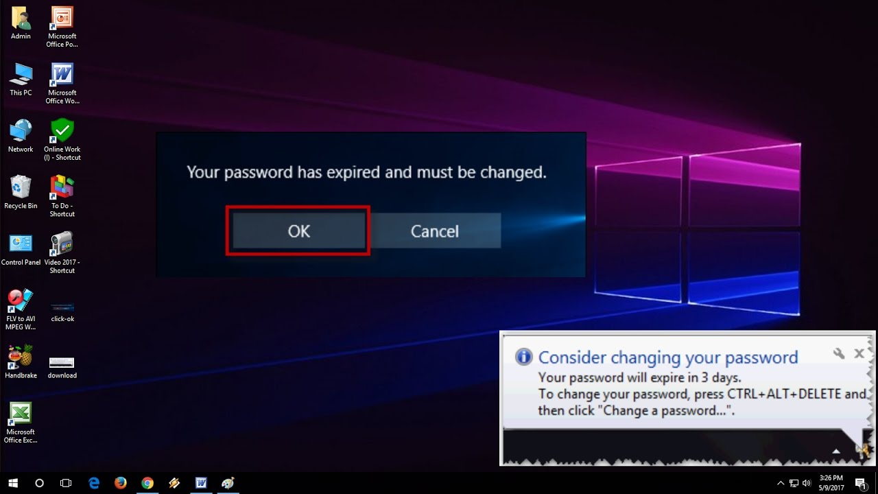 windows 10 local administrator password expired