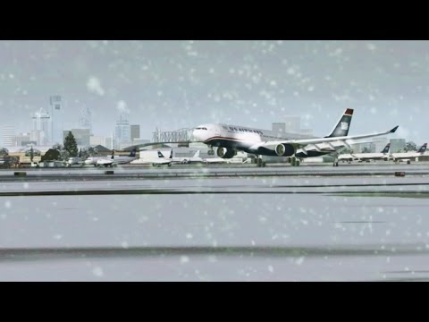 FSX [HD] - US Airways A330 Winter Storm Approach to Philadelphia