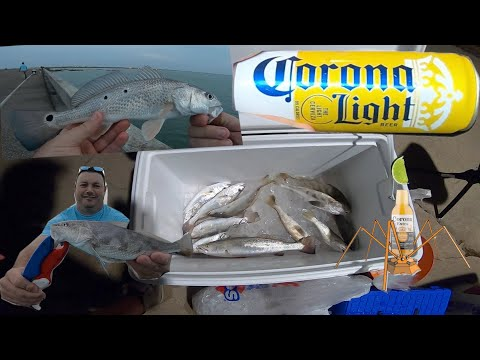 Catch Cook & Clean Corona Beer Battered Fish In The Corpus Christi Bay, March 2020..Trout & Whiting