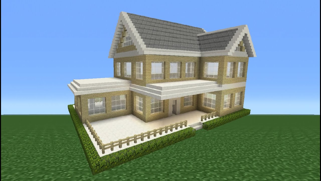Minecraft tutorial how to make a suburban house 2 youtube for How to build a mansion