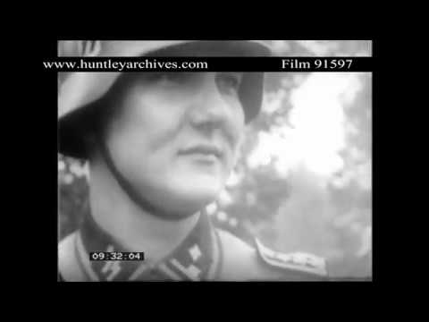German Nazi SS troops in France.  Archive film 91597