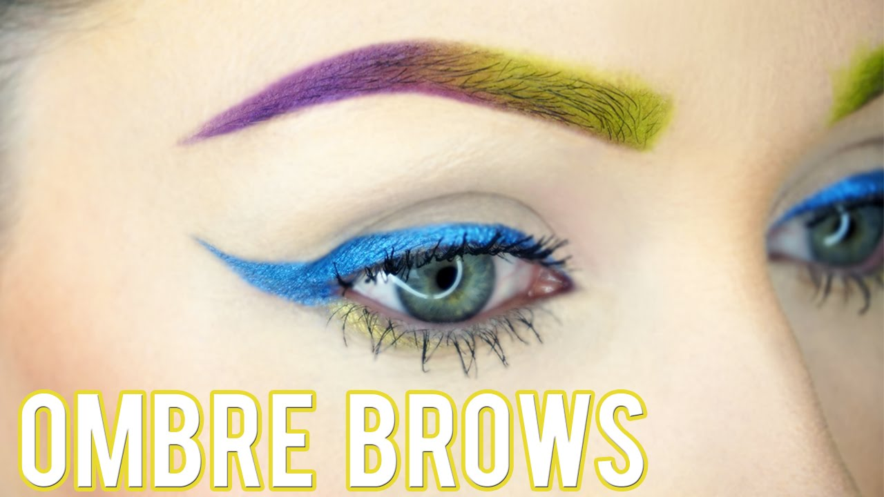 Ombre Colored Eyebrow Tutorial Green Purple Electric Palette