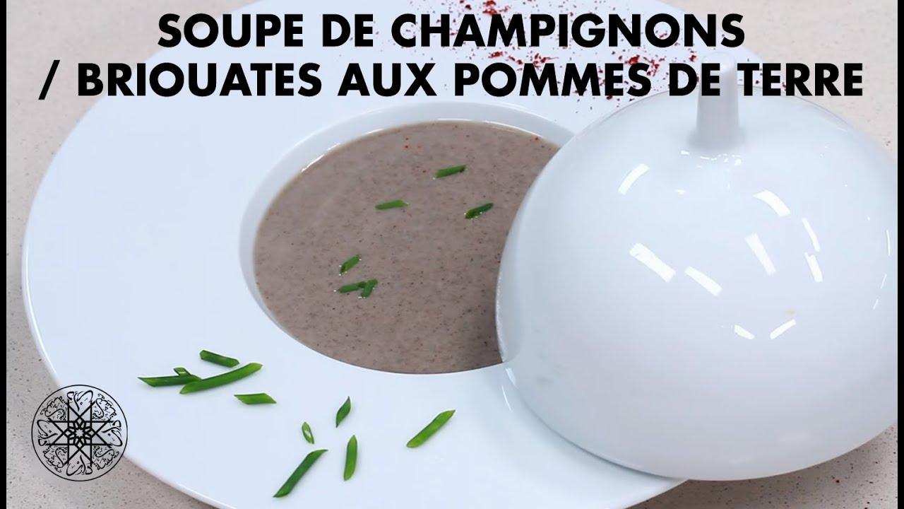 Choumicha : Soupe de champignons / Briouates aux pommes de terre : شميشة : شربة بالفطر الأبيض