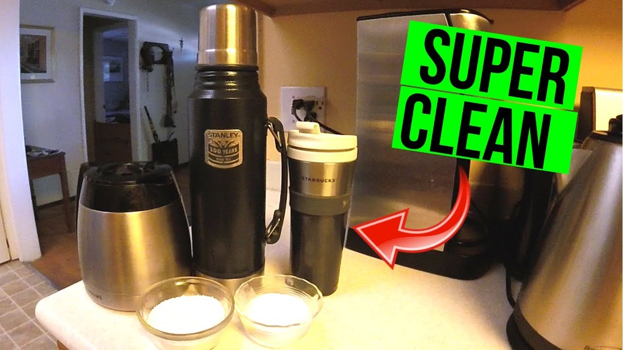 Easily Clean Stained Coffee Thermos, Travel Mug or Pot