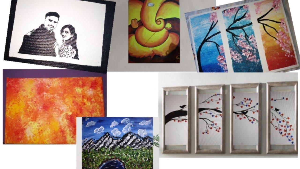 6 Easy And Simple Canvas Paintings Wall Decor Ideas Room Decor Painting Megha S Art Youtube