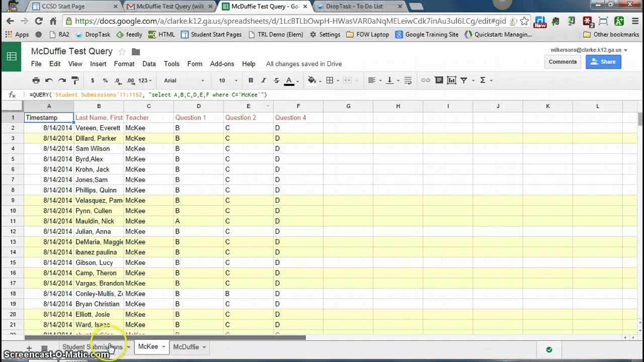 Query in Google Spreadsheets