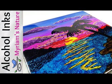48] Paint an ALCOHOL INK Tropical Sunset - TIPS & TRICKS in a Full TUTORIAL