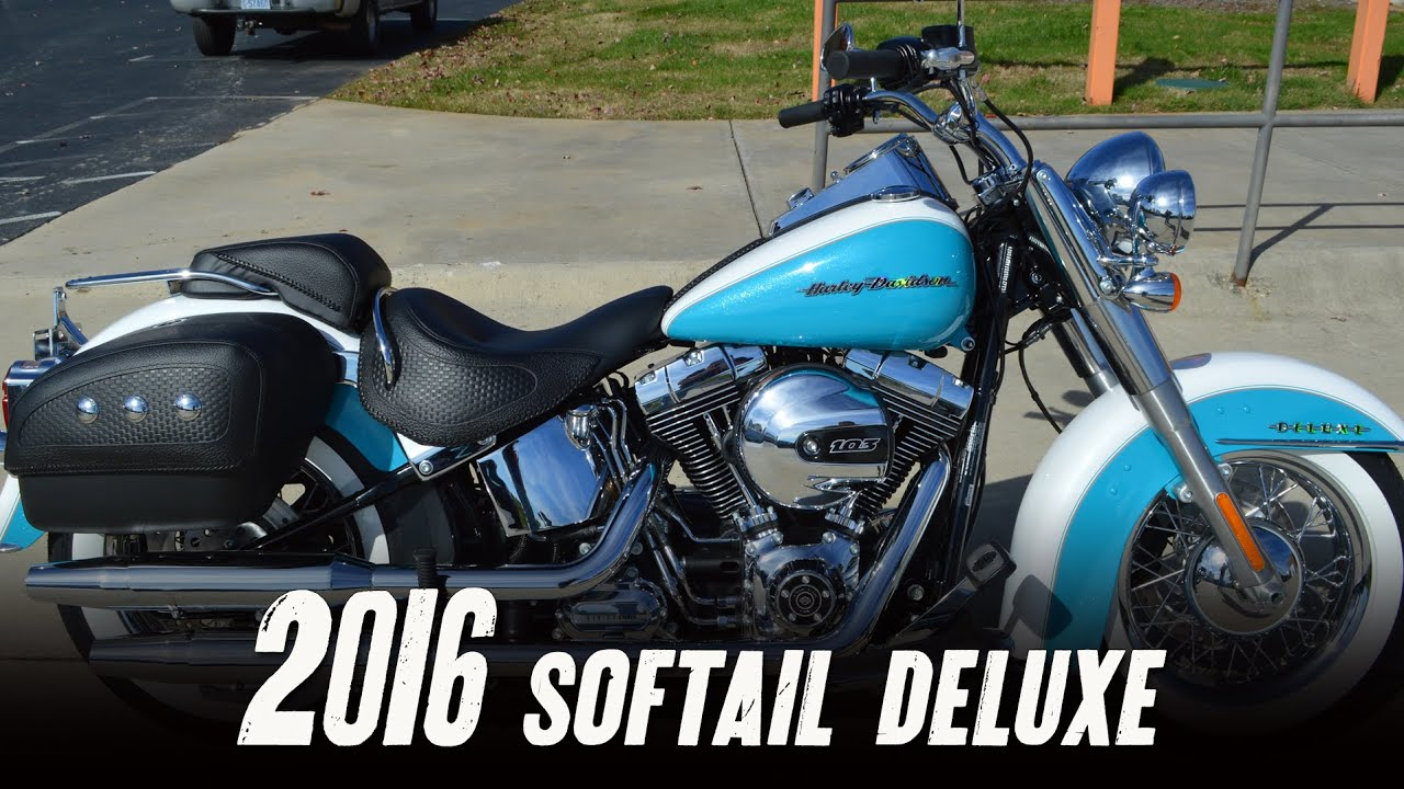 Harley Davidson Softail Deluxe >> SOLD! 2016 Harley-Davidson Softail Deluxe FLSTN Crushed White & Frosted Teal Pearl - YouTube