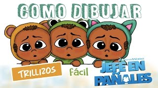 Como dibujar un jefe en pañales trillizos / how to draw the baby boss triplets