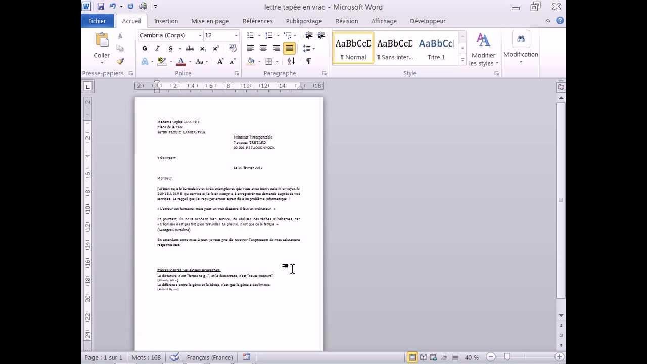 la forme d une lettre administrative