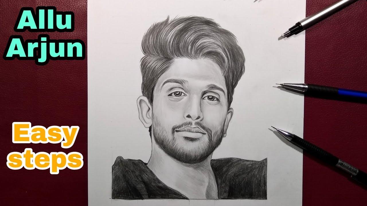 How To Draw Allu Arjun Step By Step Grid Shade Youtube