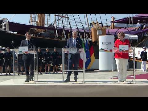 Trieste, dichiarazioni alla stampa di Gentiloni, Merkel e Macron