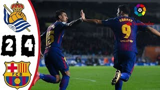Real Sociedad vs Barcelona 2-4 Resumen Highlights Goles La Liga 14/01/2018