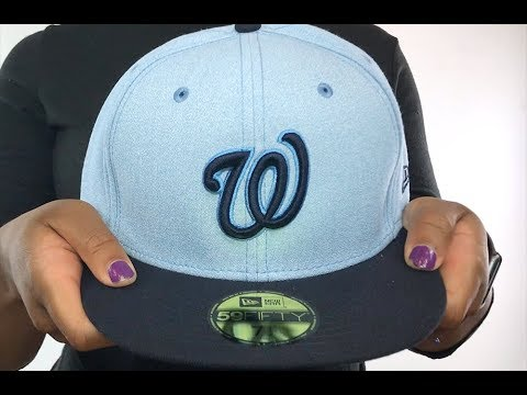 7589090988c Nationals  2018 FATHERS DAY  Sky-Navy Fitted Hat by New Era - YouTube