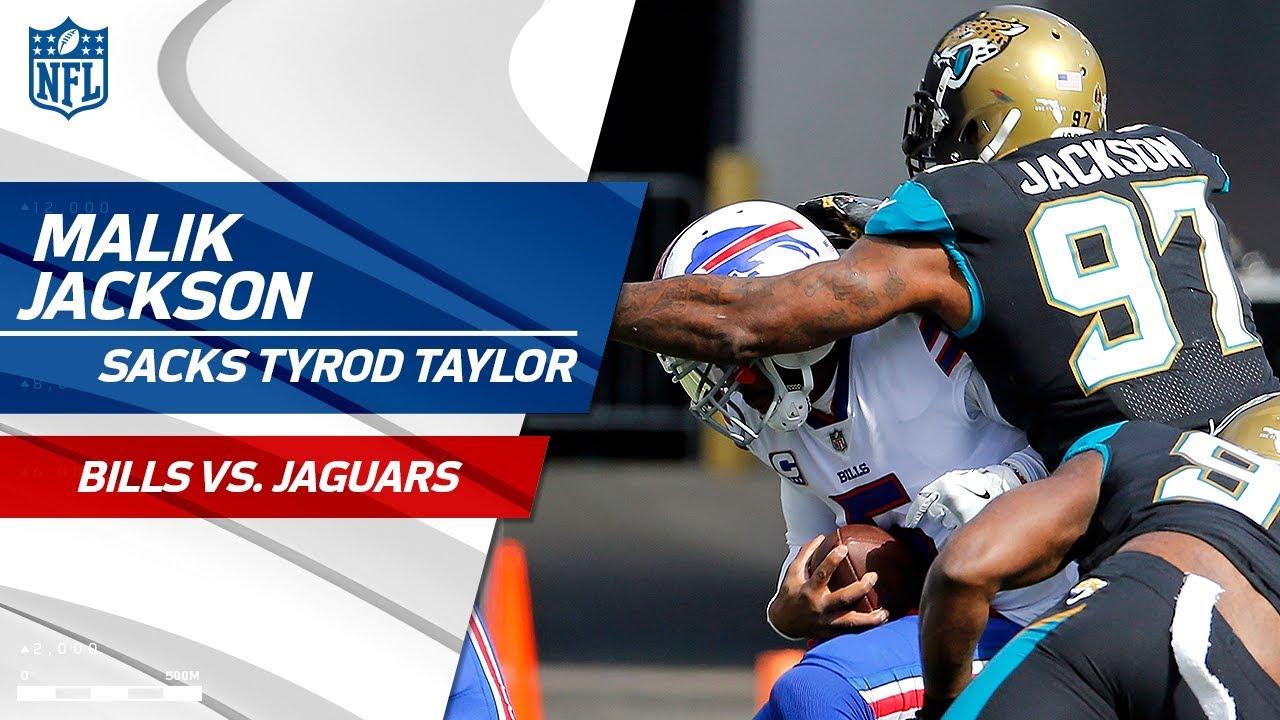 factory price 222e6 e1788 Malik Jackson Sacks Tyrod Taylor on Huge Jags Blitz! | Bills vs. Jaguars |  NFL Wild Card Highlights