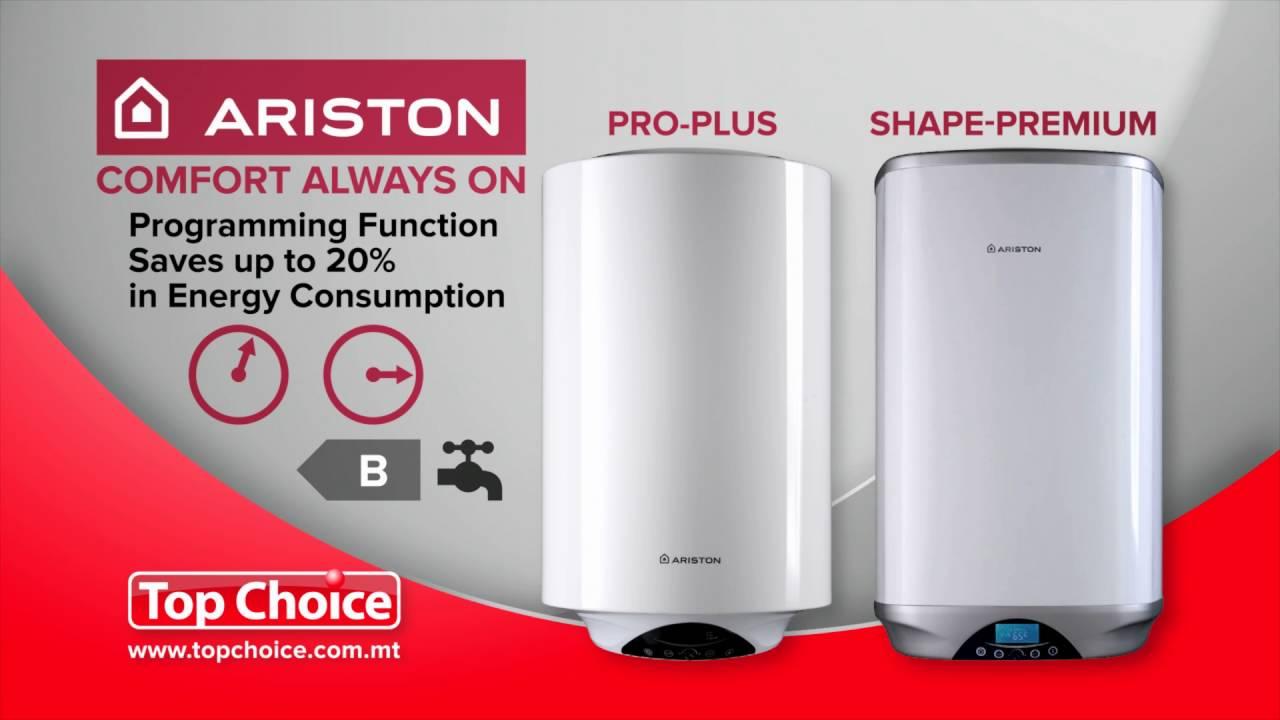 Ariston water heaters programming function youtube for Ariston shape premium 100