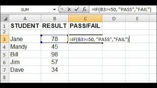Excel Pass Fail formula