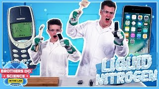 LIQUID NITROGEN VS PHONES | Brothers Do Science: In The Lab
