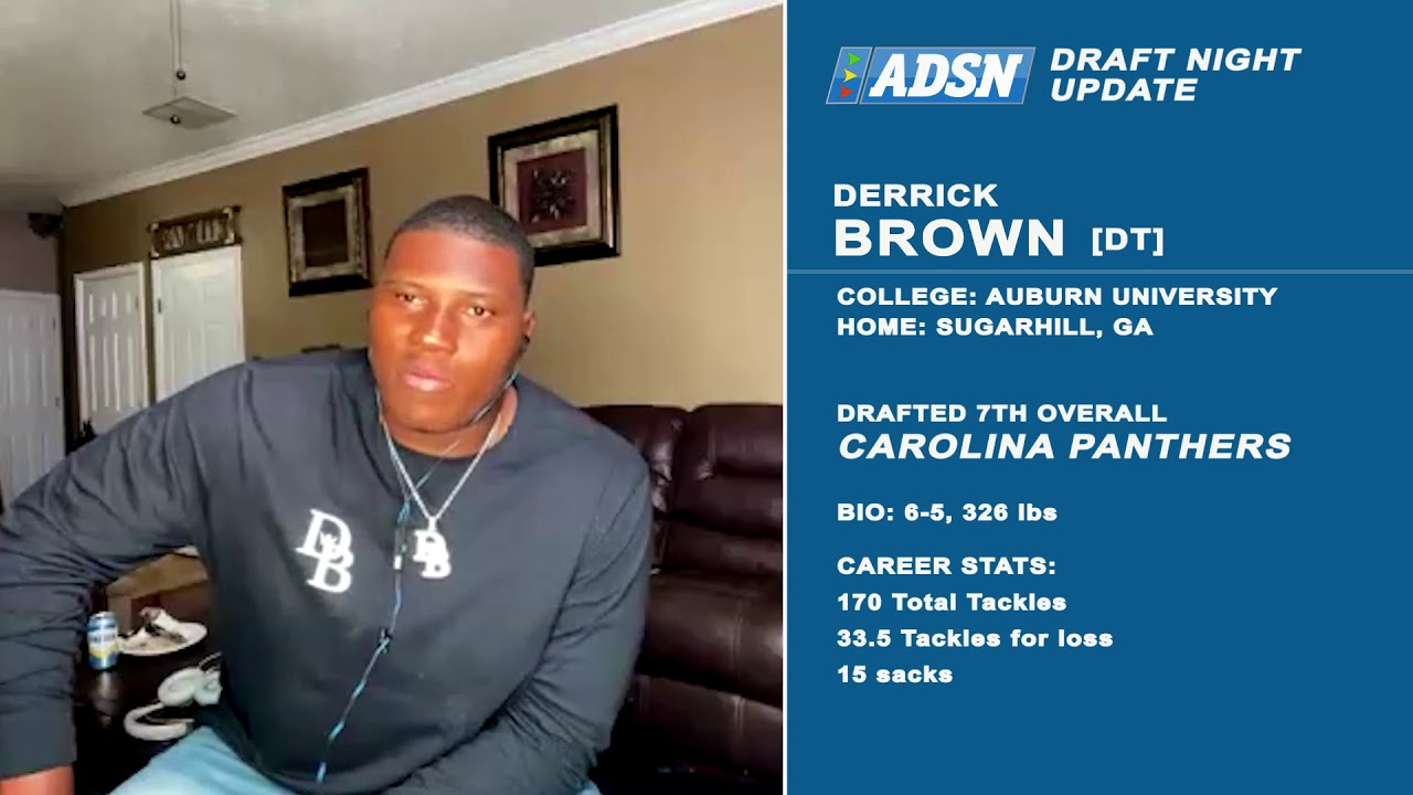 BREAKING NEWS: Derrick Brown reacts to being drafted 7th overall by Carolina Panthers #panthers