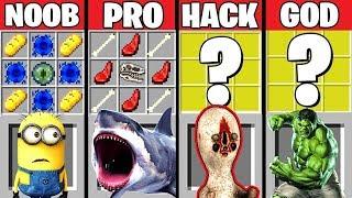 Minecraft Battle: SHARK & SCP-173 CRAFTING CHALLENGE ~ NOOB vs PRO vs HACKER vs GOD – Animation
