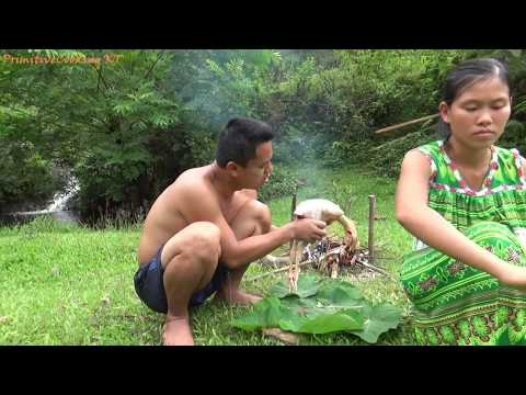 Primitives Technology - Catch wild chicken by trap and Cooking chicken recipe - Eating delicious