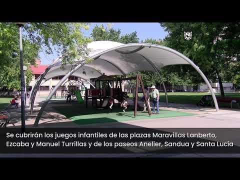 Nuevas cubiertas textiles para las zonas de juegos infantiles en los barrios de Pamplona
