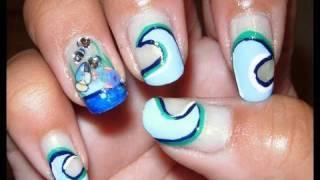 Ocean Waves and Fish nail design tutorial!