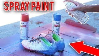 HOW TO SPRAY PAINT CUSTOM SOCCER FOOTBALL CLEATS/ SHOES