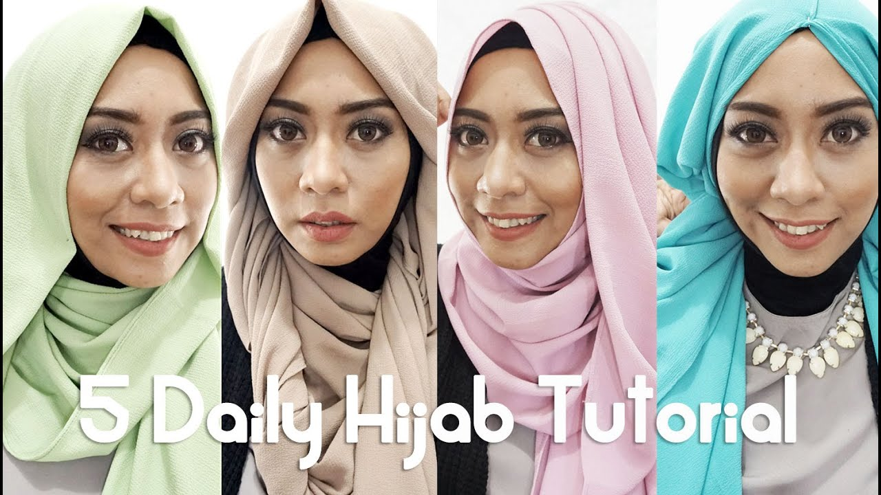 5 Tutorial Hijab Sehari Hari 2016 By Inivindy Pashmina Sifon YouTube