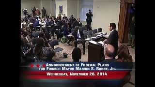 Announcement of Memorial Events for Marion S. Barry, Jr., 11/26/14