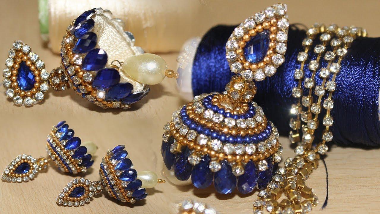 Silk thread jhumkas New Designs || How to Make Thread Earrings ...