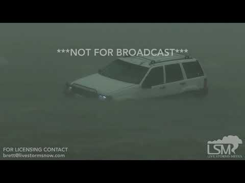 8-25-2017 Corpus Christi, Tx Hurricane Harvey, car stranded in water people rescued surge over roads