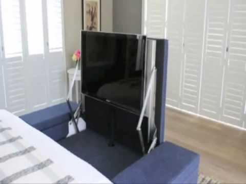 santa barbara smarthomes under bed tv lift mechanism doovi. Black Bedroom Furniture Sets. Home Design Ideas