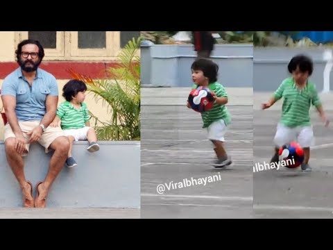 Video : Cutie Taimur Ali Khan playing football with Dad Saif Ali Khan