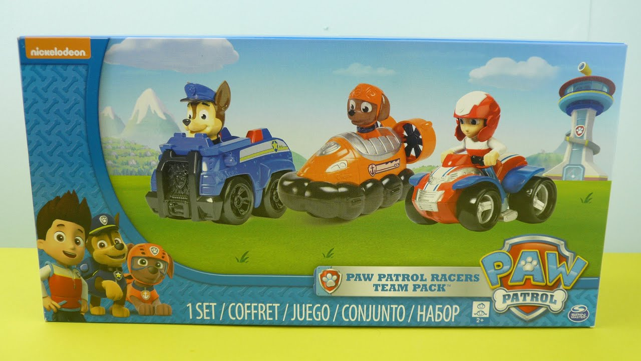 4dcaca0df Paw Patrol Racer Team Pack Chase Zuma Ryder Toy Review Nickelodeon ...