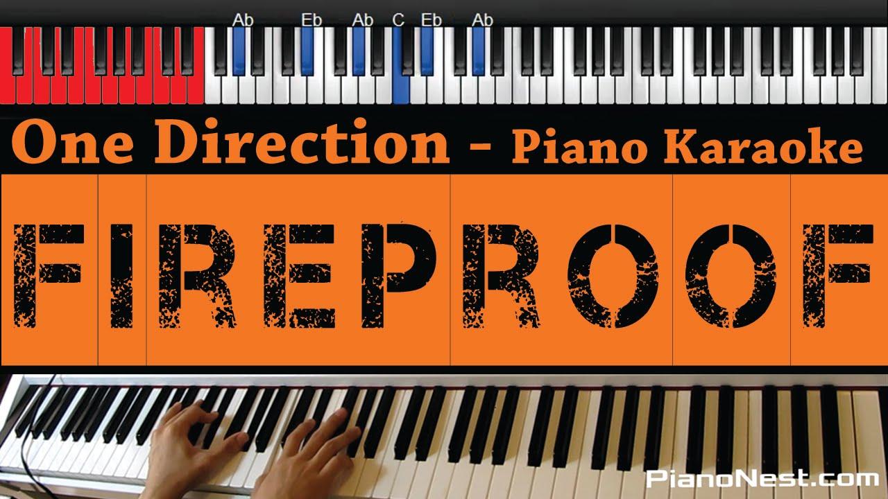 One Direction - Fireproof - HIGHER Key (Piano Karaoke / Sing Along)
