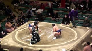 大相撲2012年・初場所6日目、『阿夢露 vs 城ノ龍』の取組 (向かって左...