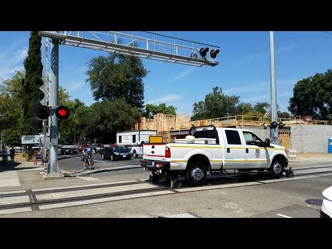 Union Pacific Hi-Railer Passes Through The Q Street Railroad Crossing, Sacramento CA