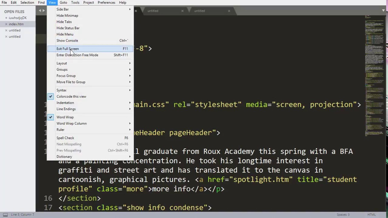 Sublime Text Tutorials 5 - How to show and hide Menu, Minimap , Status Bar  , Console and Side bar