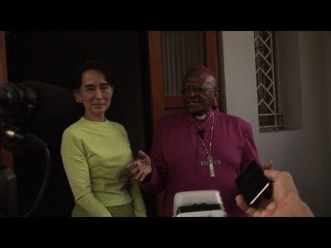 Tutu hopes for 'free' Myanmar in Suu Kyi meeting